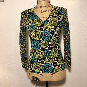 Nygard V-neck sweater blouse, size medium